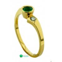 Anillo Oro A. Solitario Esmeralda y Diamante
