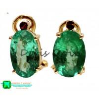 Aretes en Oro con Esmeraldas Ovaladas Grandes Cristal