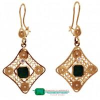 Aretes en Oro tipo filigrana con esmeraldas naturales
